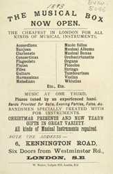 Advert for the Music Box, musical instrument shop